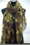 Chiffon Scarf- Brown with Yellow skulls