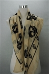Cream with Black skulls Print Scarf.