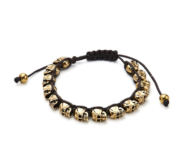 Gold Tone heavy metals skull bracelet- top quality